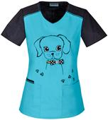 Cherokee Women's Give a Dog a Bow-n Scrub Top
