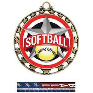 GOLD MEDAL/PATRIOT SOFTBALL NECK RIBBON