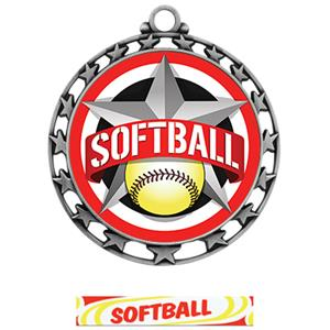 SILVER MEDAL/DELUXE SOFTBALL NECK RIBBON