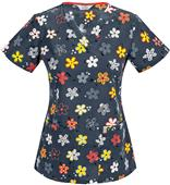 Code Happy Doodling Daisies V-Neck Scrub Top