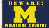 College Michigan Beware Wolverine Country Flag