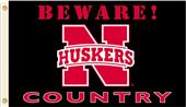 College Nebraska Beware Huskers Country 3'x5' Flag