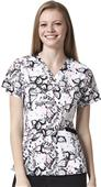 WonderWink Womens Verity V-Neck Print Scrub Top