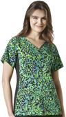 WonderWink Womens Mock Wrap Knit Print Scrub Top