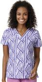 WonderWink Womens Sporty V-Neck Print Scrub Top