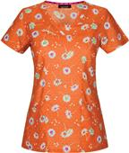 Heartsoul Lucky Daisy Orange V-Neck Scrub Top