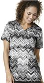 WonderWink Womens Mock Y-Neck Print Scrub Top
