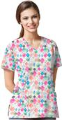 WonderWink Womens Contoured V-Neck Print Scrub Top