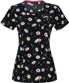 HeartSoul Mock Wrap Scrub Top It Your Lucky Daisy