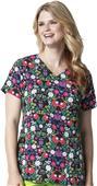 WonderWink Womens Shirred Fashion Wrap Scrub Top