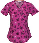 Code Happy Fashion Prints Mock Wrap Scrub Tops