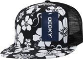 Decky Floral Flat Bill 5-panel Trucker Cap