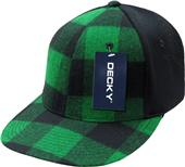 Decky Plaid Flat Bill 6-Panel Flex Caps