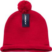 Decky Solid Roll-Up Beanie with Pom Pom