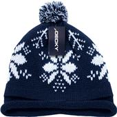 Decky Snowflake Roll-Up Beanie with Pom