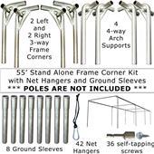 55' or 70' Baseball Frame Corners & Sleeves Kit