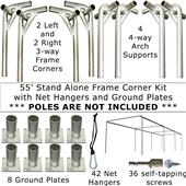 55' or 70' Baseball Frame Corners & Ground Plates