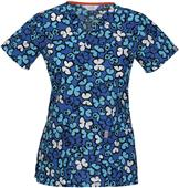 Code Happy V-Neck Fashion Prints Scrub Top