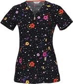 Code Happy Fashion Prints Short Sleeve Scrub Top