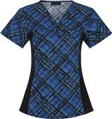 Cherokee Womens V-Neck Knit Panel Scrub Top