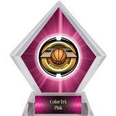"2"" Saturn Basketball Pink Diamond Ice Trophy"