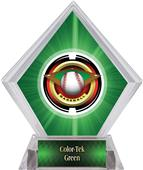 "2"" Saturn Baseball Green Diamond Ice Trophy"