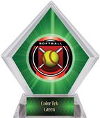 "2"" Legacy Softball Green Diamond Ice Trophy"