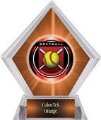 "2"" Legacy Softball Orange Diamond Ice Trophy"