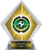 "2"" Saturn Soccer Yellow Diamond Ice Trophy"