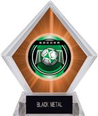 "2"" Legacy Soccer Orange Diamond Ice Trophy"