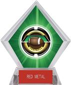 "2"" Saturn Football Green Diamond Ice Trophy"