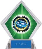 "2"" Saturn Swimming Green Diamond Ice Trophy"