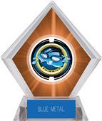 "2"" Saturn Swimming Orange Diamond Ice Trophy"
