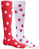 Red Lion Mismatched MX Dots Socks