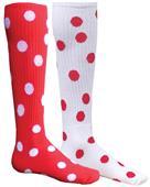 Red Lion Mismatched MX Dots Socks