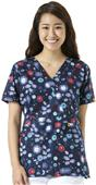 WonderWink Womens Golf Print Mock Wrap Scrub Top