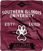 NCAA Southern Illinois Univ Label Raschel Throw