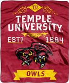 NCAA Temple Univ Label Raschel Throw