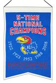 Winning Streak NCAA Kansas 5 Time Champions Banner