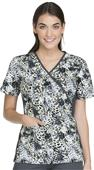 Cherokee Women's Mock Wrap Knit Panel Scrub Top