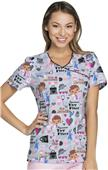 Cherokee Disney Women's Mock Wrap Scrub Top