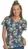 Cherokee Disney Women's Dr. Seuss V-Neck Scrub Top