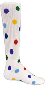 WHITE SOCK MULTI-COLOR DOTS