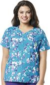 WonderWink Womens Plus Mock Wrap Print Scrub Top