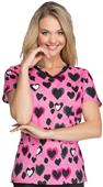 HeartSoul Womens V-Neck Printed Scrub Tops