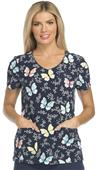 Dickies Womens Wildflower Leopard V-Neck Scrub Top
