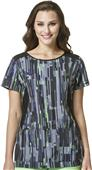 WonderWink Womens HP Boat Neck Print Top