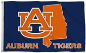Collegiate Auburn 3'x5' Flag w/State Outline