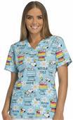 Cherokee Disney Womens Peanuts V-Neck Scrub Top