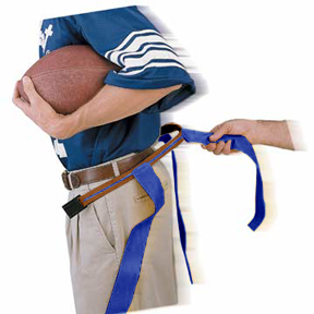 TAN BELT/BLUE FLAG